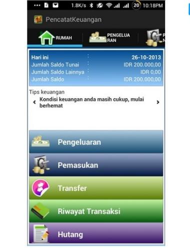 Aplikasi keuangan pencatat keuangan